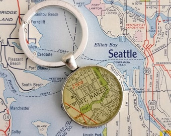 Mt Baker Seattle vintage map keychain | geography gift | key ring