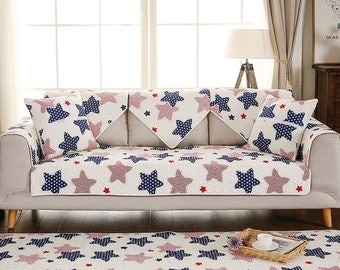 Starry Night Sofa Cover Couch Slipcover Loveseat Cover Cotton Navy Blue Red Home Decor