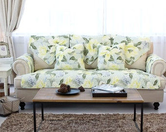 Spring Blossoms Sofa Cover Couch Slipcover Loveseat Cover Cotton White Light Green White Home Decor
