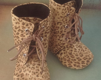 Baby Lace Up Boots | Leopard Print | Newborn up to 3T | FREE Shipping in the US