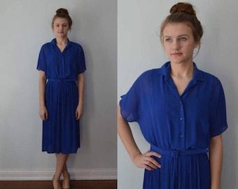 Vintage 1970s Dress, Gerard Pasquier Paris, Vintage Blue Pleated Dress, Casual Dress, Day Dress, Vintage Dress