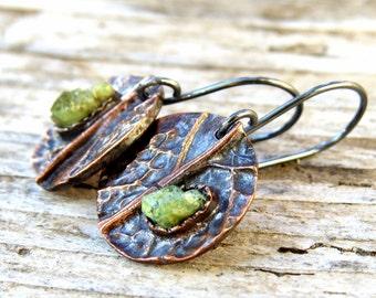 Copper Earrings, Leaf Earrings, Gemstone Earrings, Rustic Earrings, Woodland Earrings, Organic Earrings, Floral Earrings, Gift for her