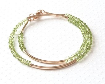 Real Peridot Bracelet, Wrap Around Bracelet, Handmade Beaded Bracelet, Green Stone Jewelry, Gold Filled Jewelry, Birthstone Jewelry for Her