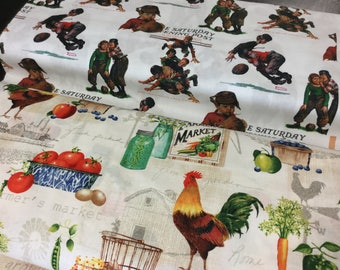 """45"""" Cotton Screen Printed A Day on A Farm Farmer's Market Saturday Evening Post Vintage Print Football Sports Boys Fabric / Quilting Sewing"""