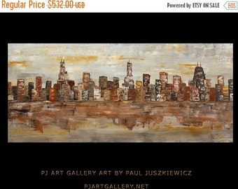 """17% OFF /ONE WEEK Only/ Enormous Chicago City Scape Skyline Knife Abstract by Paul Juszkiewicz 60""""x30"""" brown cognac gray"""