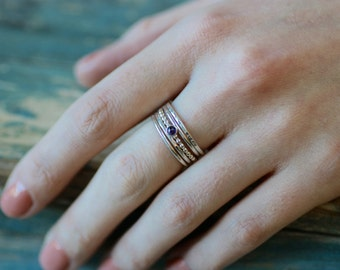 Silver birthstone ring stack, silver stacking rings, birthstone ring stackable, gift for her, set of 5 rings - Juliet