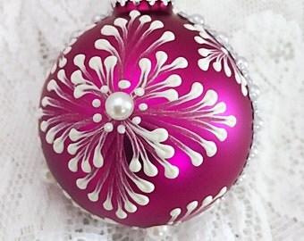"Peace ornament, glass mat ornament, pearl and rhinestones ornament ,fuchsia ornament, 3D texture mudded ornament, glitter letter ornament 5"""