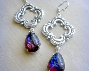 Boho Earrings - Bohemian Earrings - Boho Jewelry - Mexican Opal Earrings - Vintage Style - Romantic Earrings - Quatrefoil Earrings