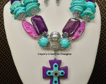 Cowgirl Western Chunky Statement Necklace Set / Purple Turquoise Necklace / Statement Necklace / Chunky Cross Pendant Necklace - MARIAN