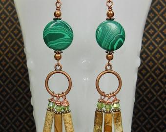 Boho Earrings Bohemian Earrings Green Earrings Malachite and Picture Jasper Antique Copper Earrings Dangle Drop Earrings Gypsy Boho - EMMA