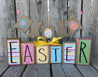 Ready to ship EASTER SPRING wood block set handmade chick bunny home seasonal decor photo prop rae dunn inspired