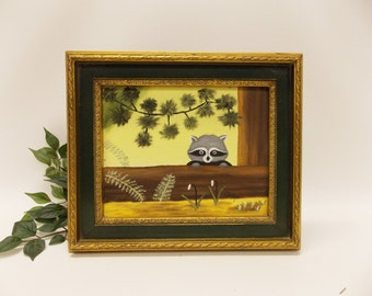 Vintage Framed Racoon Painting-- Racoon Art--Folk Art Style Kid's Decor