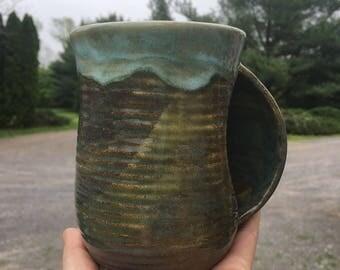 Earth Tone Ceramic Hug a Mug - Flowing Riverstone Green - Coffee / Tea Grooved Mug - Seconds Sale