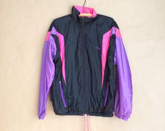 SALE! vintage 90's track jacket / nylon windbreaker / 90's outerwear / color block jacket / zip up jacket / small / retro