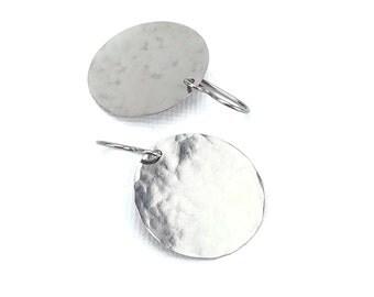 Titanium Earrings Large Disc, Large Hammered Niobium Disc Earrings, Hypoallergenic Disk Earrings for Sensitive Ears, No Nickel Earrings
