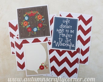 Life is Wonderful - Premade Scrapbook Page Sewn Photo Mat Set