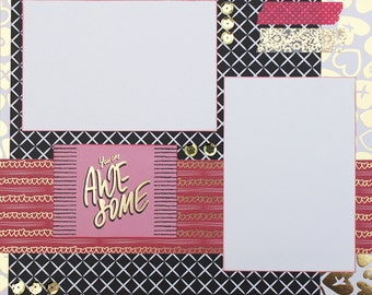 Awesome Basic Premade Scrapbook Page 12x12 Layout for Album