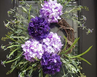 Hydrangea Wreath, Spring Wreath, Etsy Wreaths, Summer Wreath, Spring Summer Wreath, Front Door Wreaths, Purple Wreath