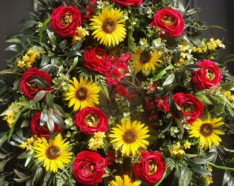 Red and Yellow Door Wreath, Spring Wreath, Summer Wreath, Spring Door Wreath, Floral Wreath, XL Wreath, Large Wreaths