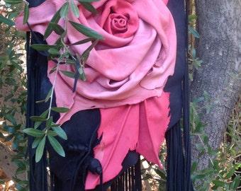 showdiva designs Asymmetrical Pink Black Deerskin Leather Bag Purse LoNg FriNgE n Hand Sculpted Flowers