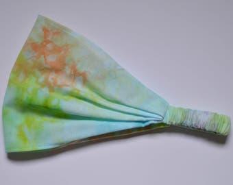 Headband - Aquatic Blue Green Watercolour Hand Dyed fabric