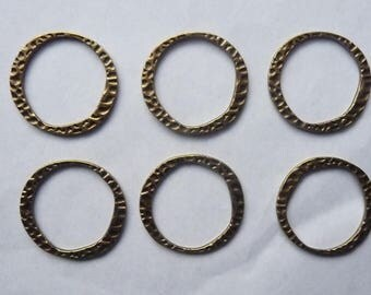 Antique Brass Tone Base Metal Textured Near Ring-30x28mm, Pack of 6.
