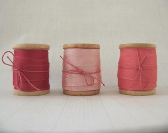 Silky ribbon, vintage wood spools, supplies, gift wrapping, seam binding, valentines day, pink, coral, cranberry