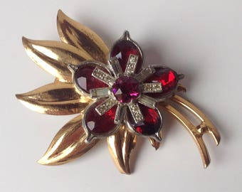 Pennino Brooch Pendant - Red Bezel Glass Floral 1930s Jewelry