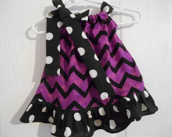 Girls pillowcase dress purple black color chevron with ruffle color of your choice infant thru 6 years