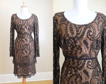 Lace Dress Formal Brown Black 60s Vintage Party Evening Medium