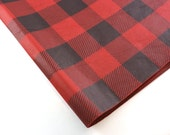 24 sheets of Buffalo Plaid Tissue Paper - Red and Black - 15 x 20 inch 100% recycled Tissue Paper - eco-friendly gift wrap
