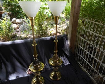 Pair of Vintage/Retro Tall Brass Torchiere Lamps with White Glass Shades