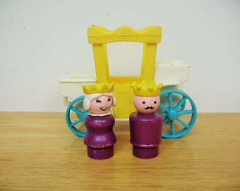 Vintage Fisher Price Castle Carriage, King and Queen