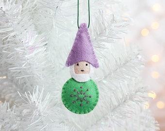 Felt Ornament, Gnome Ornament, Handmade Christmas Ornament, Christmas Elf, Christmas Decor, Hand embroidered, ready to ship