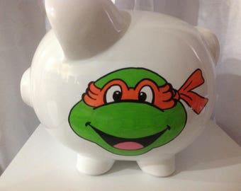 Personalized Large Piggy Bank Ninja Turtle Newborns , 1st  Birthday , Ring Bearer ,Baby Shower Gift