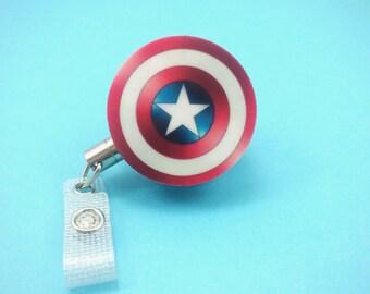 B-GRADE--- Captain America Steel Cord Heavy Duty Long Lasting Superhero Marvel Badge Reel Retractable ID Holder Nurse CNA Technician CPhT