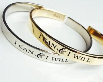I Can & I Will Bracelet . Inspirational Jewelry . Daily Reminder Jewelry . #TBCO