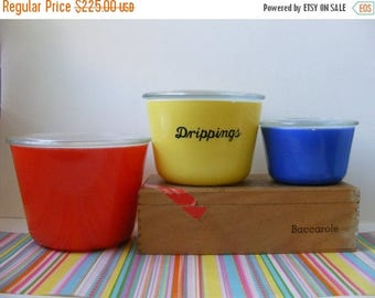 20% OFF MOVING SALE Vintage Rare Htf McKee Canister Set, Lids, Primary Colors Red Yellow Blue, McKee Refrigerator Dishes, McKee Nesting Bowl