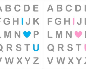Digital Download Pink OR Blue Baby Nursery Print I Love You Alphabet Wall Art