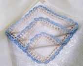 Something Blue, Bridal Handkerchief, Hanky, Hankie, Wedding, Hand Crochet, Lace, Ladies, Personalized, Monogram, Embroidered, Ready to ship