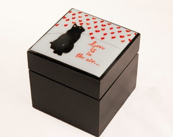 Love Is In The Air Wood Keepsake Box, I Love You,  Gifts for Cat Lovers, Cat Artwork Deborah Julian