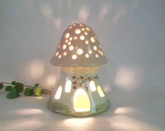 Night Light/Fairy House - Pink Roof, Mushroom with Starry Sky - No Chimney - Hand Painted - Ready to Ship - Child Lamp / Nursery Light