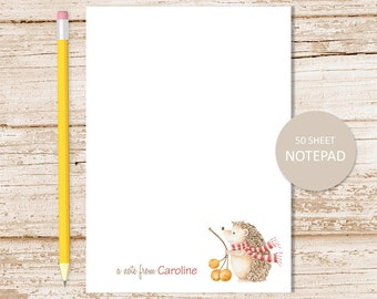 personalized hedgehog notepad, note pad . autumn, winter . personalized stationary . watercolor, porcupine stationery . woodland forest
