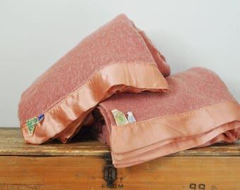 "Vintage Pair Faribo Virgin Wool Blankets Salmon Pink Twin Size Set of 2 100% Woolen Blanket 62"" by 78"""