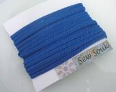 Moroccan very narrow woven flat braid, lapis blue art silk,  5 metres