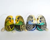 Reserved listing for Mélanie - Budgies, needle felted wool ornaments