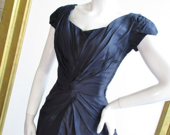 "1950s Ceil Chapman Navy Silk Wiggle Dress with Draping 24"" Waist"