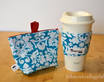Ready to ship-Reusable Medium Snack Bag and Coffee Cup Sleeve - Aqua Damask