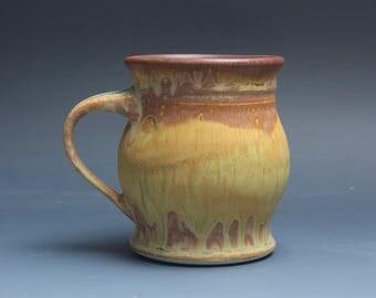 Handmade pottery coffee mug tea cup 14 oz yellow amber tea cup 3884