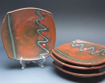 Handmade pottery appetizer plate set, stoneware luncheon plates, iron red 3950